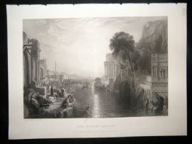 After Turner 1860 Antique Print, Dido building Carthage, Art Journal